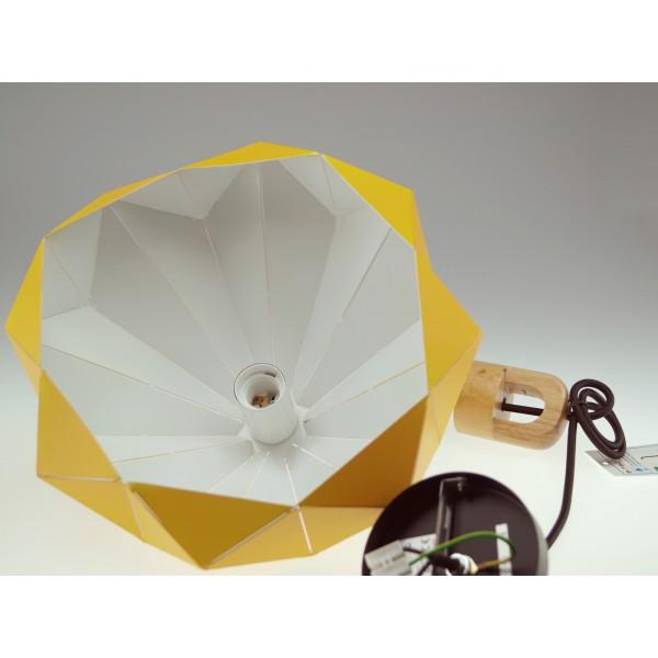 Pendul Pastel cu Lemn Prismatic Galben