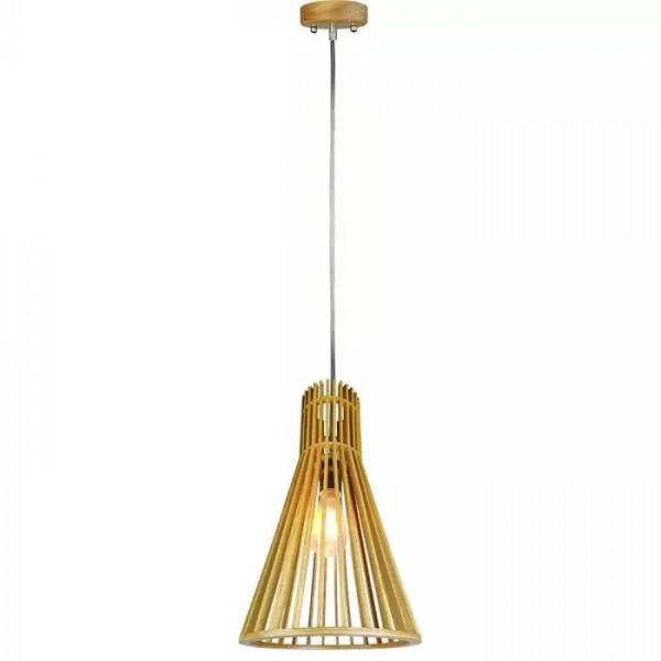 Pendul Lemn cu capac decorativ crom si abajur conic 250mm