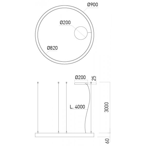 Pendul LED rotund 57W XAMBIT negru 900mm Alb Cald