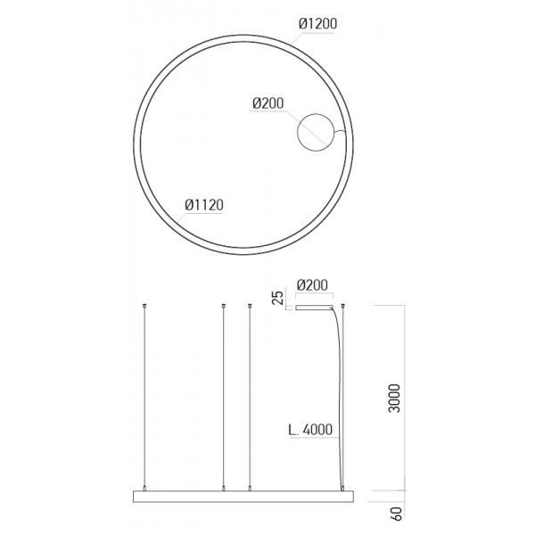 Pendul LED rotund 75W XAMBIT alb 1200mm Alb Neutru