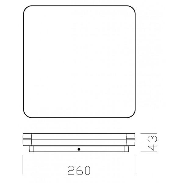 Plafoniera LED dimabila 27W patrata 260mm SCHRACK ELEGANCE Corp Argintiu Alb Neutru