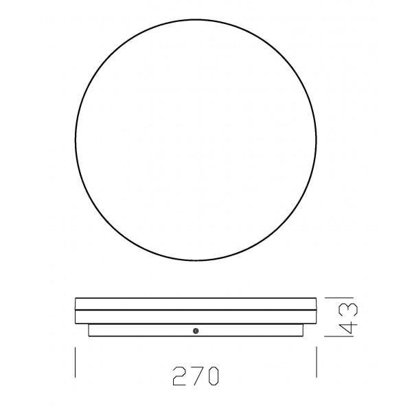 Plafoniera LED 27W rotunda 270mm SCHRACK ELEGANCE Corp Argintiu Alb Cald