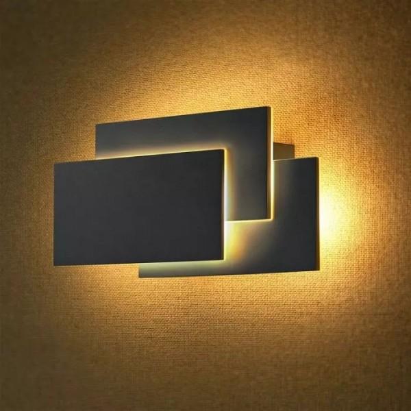 Aplica LED 12W tripla Corp Negru Alb Neutru