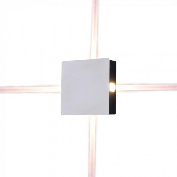 Aplica LED 4W patrata Corp Alb Alb Cald