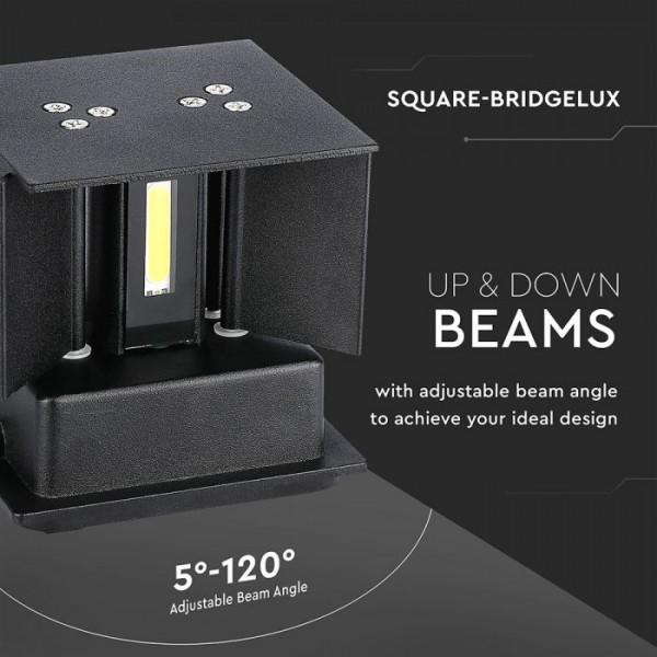 Aplica LED 12W patrata cip BRIDGELUX Corp Negru Alb Neutru