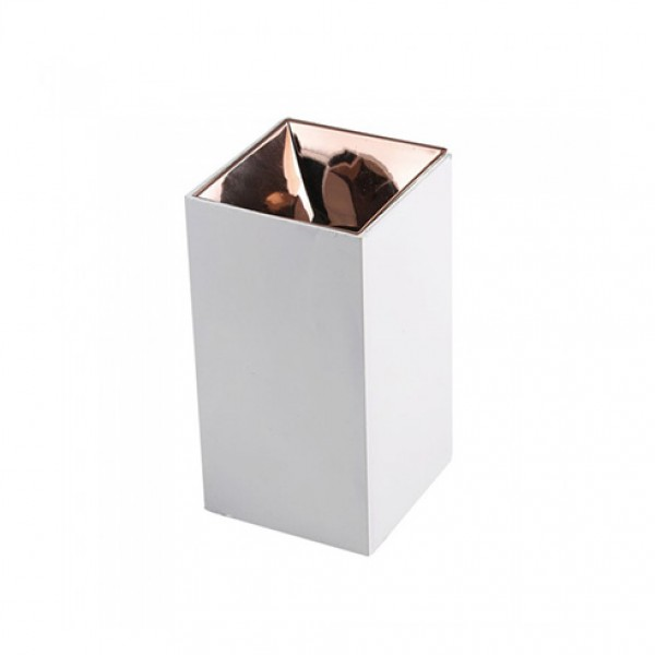 Plafoniera patrata suport GU10 corp alb reflector aur roz
