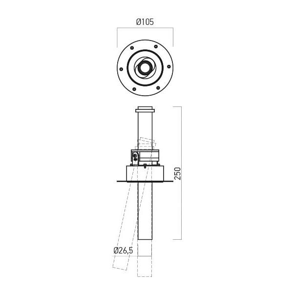 Proiector LED 9W incastrat XVECTOR 250mm corp alb orientabil retractabil alb cald fara rama vizibila