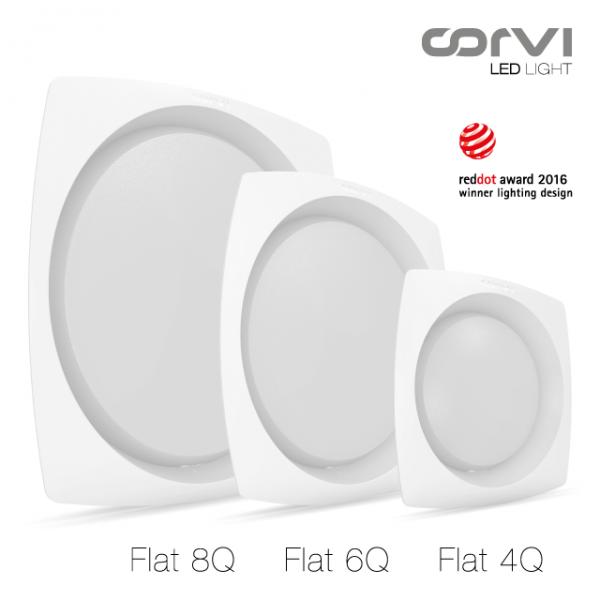 Spot LED Corvi 15W Flat 6Q rotund rama patrata Dimabil Alb Neutru