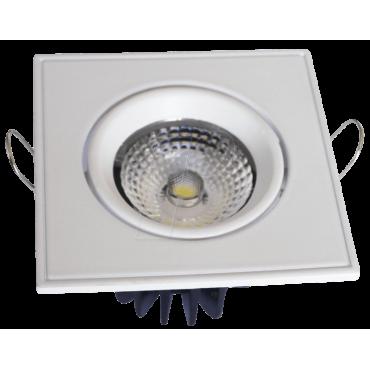 Spot LED 5W Downlight Ajustabil COB Patrat Alb Rece