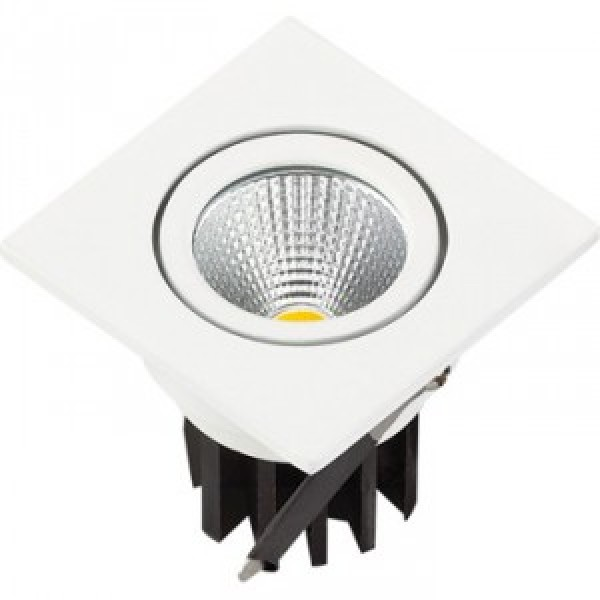 Spot LED 3W Downlight COB Patrat Alb Rece