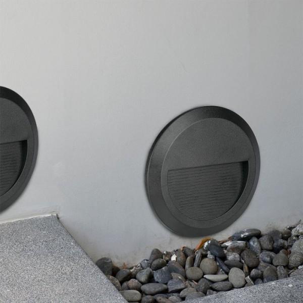 Spot LED etans 2W pentru scari rotund Corp Negru Alb Neutru