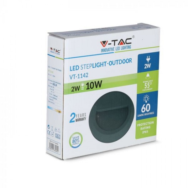 Spot LED etans 2W pentru scari rotund Corp Negru Alb Cald