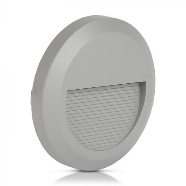 Spot LED etans 2W pentru scari rotund Corp Gri Alb Cald