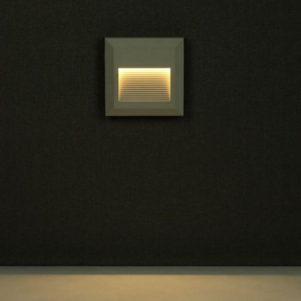 Spot LED etans 2W pentru scari patrat Corp Alb Alb Neutru