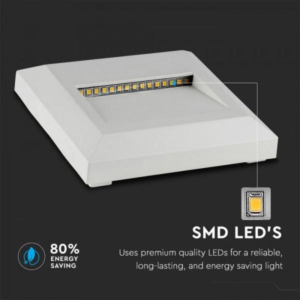 Spot LED etans 2W pentru scari patrat Corp Alb Alb Cald