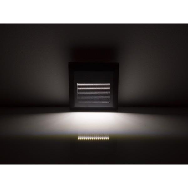 Spot LED etans 2W pentru scari patrat Corp Negru Alb Cald