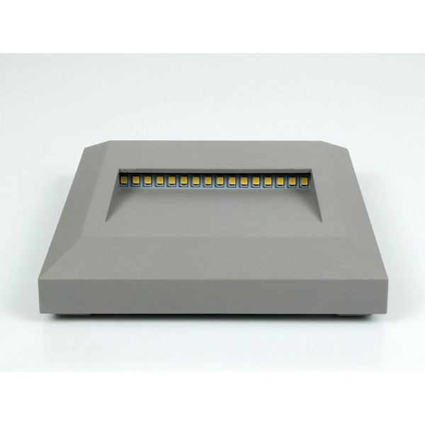 Spot LED etans 2W pentru scari patrat Corp Gri Alb Cald