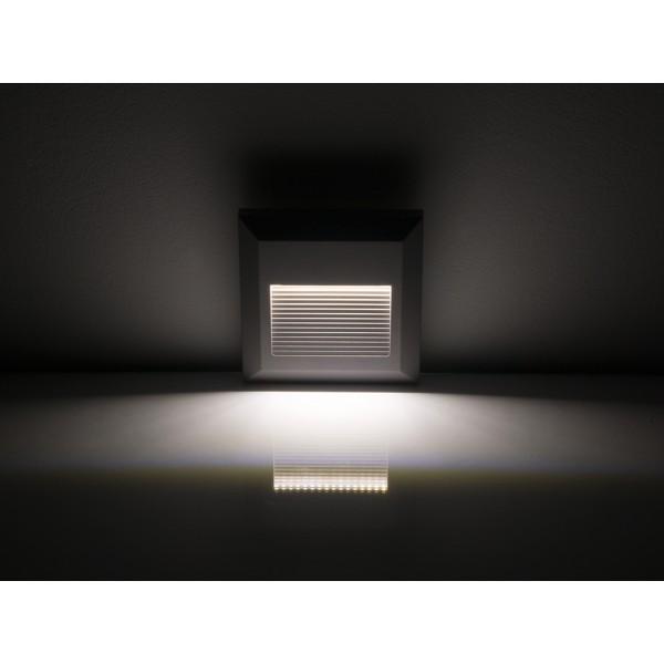Spot LED etans 2W pentru scari patrat Corp Gri Alb Neutru