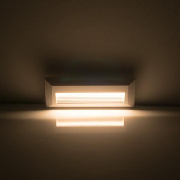 Spot LED etans 3W pentru treapta dreptunghiular Corp Alb Alb Cald