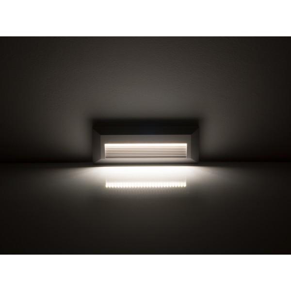 Spot LED etans 3W pentru treapta dreptunghiular Corp Gri Alb Neutru