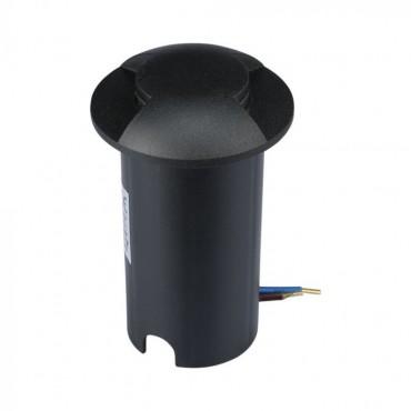 Spot LED etans 1W negru bidirectional cu montaj ingropat in pardoseala alb cald 12V