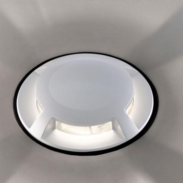 Spot LED etans 1W alb 4 directii cu montaj ingropat in pardoseala alb cald 12V
