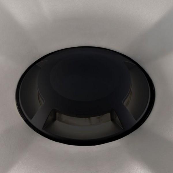 Spot LED etans 1W negru 4 directii cu montaj ingropat in pardoseala alb rece 12V