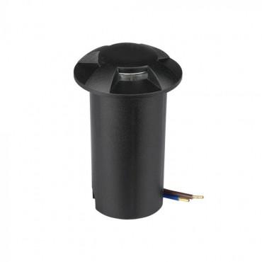 Spot LED etans 1W negru 4 directii cu montaj ingropat in pardoseala alb cald 12V