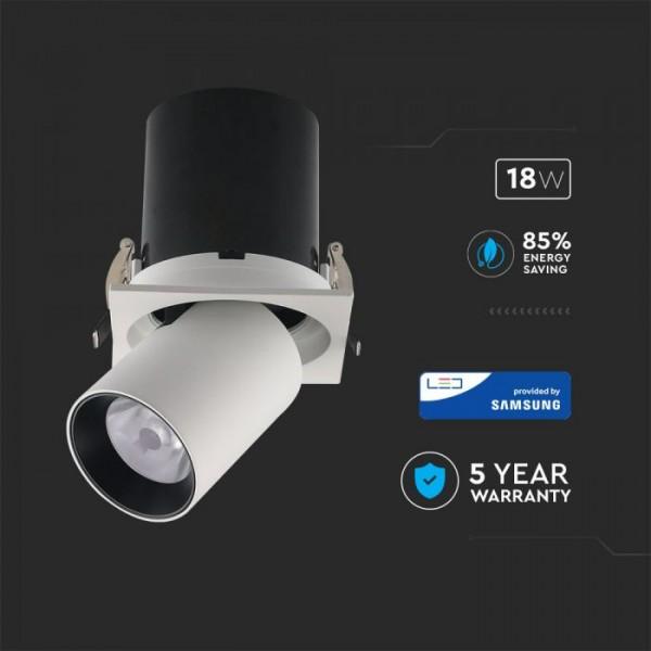 Spot LED orientabil 18W cip SAMSUNG cu reflector corp alb si negru Alb Neutru