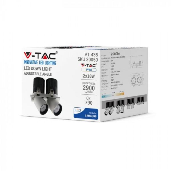 Spot LED orientabil 2x18W cip SAMSUNG cu reflector corp alb si negru Alb Neutru