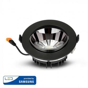 Spot LED orientabil 10W Rotund cip SAMSUNG cu reflector si rama neagra Alb Neutru