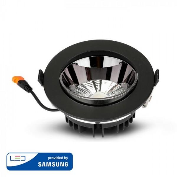 Spot LED orientabil 10W Rotund cip SAMSUNG cu reflector si rama neagra Alb Cald