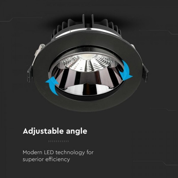 Spot LED orientabil 30W Rotund cip SAMSUNG cu reflector si rama neagra Alb Neutru