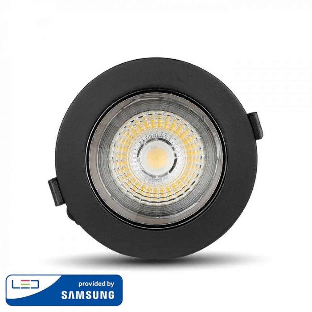 Spot LED orientabil 20W Rotund cip SAMSUNG cu reflector si rama neagra Alb Rece