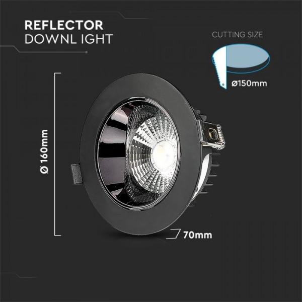 Spot LED orientabil 20W Rotund cip SAMSUNG cu reflector si rama neagra Alb Cald